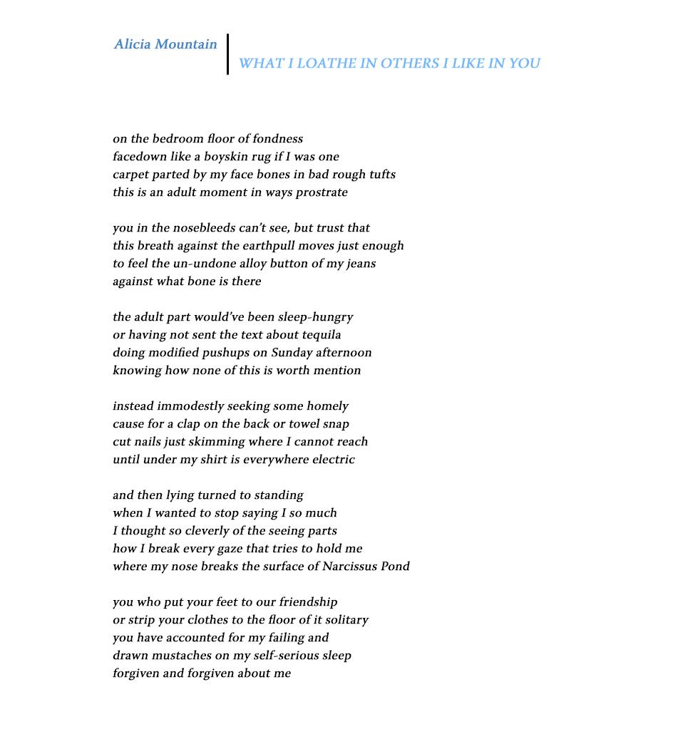 Sixth Finch - Winter 2017 - Alicia Mountain - WHAT I LOATHE