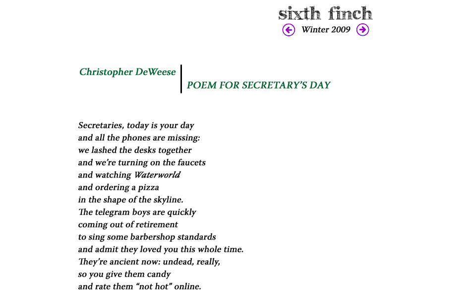 Sixth Finch - Winter 09 - Christopher DeWeese - POEM FOR ...
